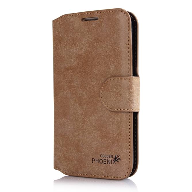 Golden Phoenix Samsung Galaxy Note 2 Schutzhuelle Klassik Wallet-Case Wildleder braun