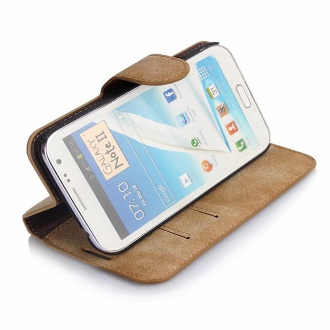 Golden Phoenix Samsung Galaxy Note 2 Handyhuelle Klassik Wallet-Case Wildleder hellbraun Aufstellfunktion