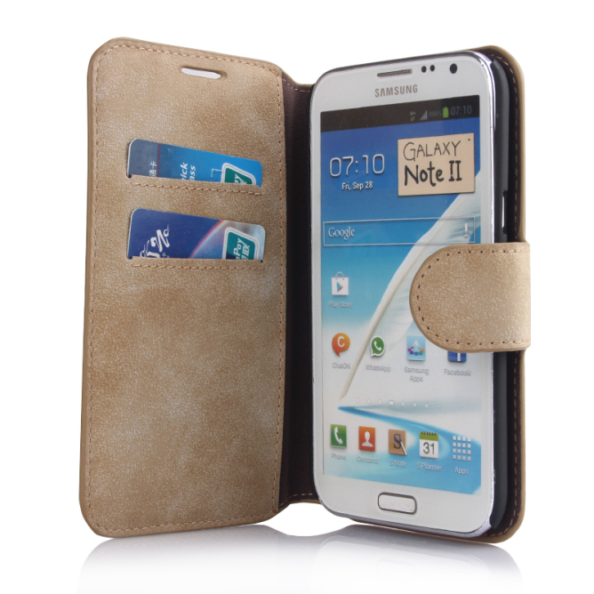 Golden Phoenix Samsung Galaxy Note 2 Handyhuelle Klassik Wallet-Case Wildleder hellbraun