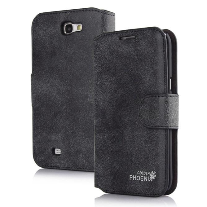Golden Phoenix Samsung Galaxy Note 2 Handyhuelle Klassik Wallet-Case Wildleder schwarz