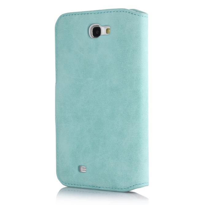 Golden Phoenix Samsung Galaxy Note 2 Handyhuelle Klassik Wallet-Case Wildleder tuerkis