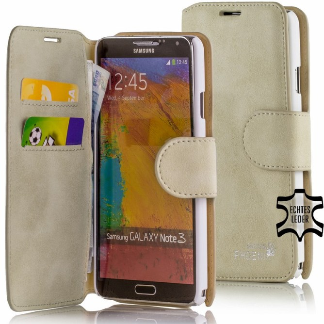 Golden Phoenix Samsung Galaxy Note 3 Handyhuelle Klassik Wallet-Case Wildleder beige