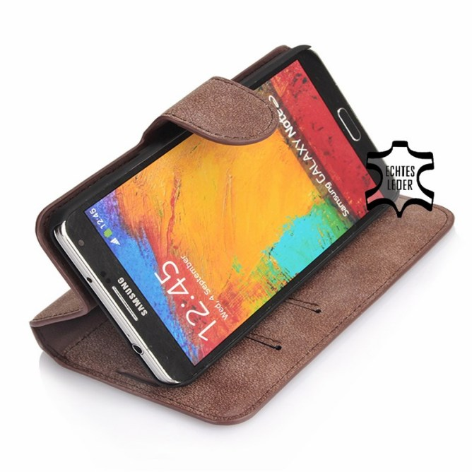 Golden Phoenix Samsung Galaxy Note 3 Handyhuelle Klassik Wallet-Case Wildleder braun Aufstellfunktion