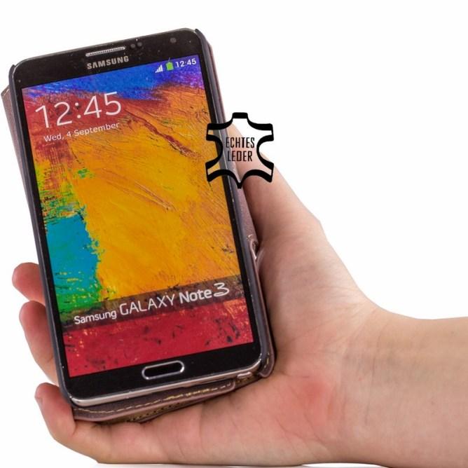 Golden Phoenix Samsung Galaxy Note 3 Handyhuelle Klassik Wallet-Case Wildleder braun aufgeklappt