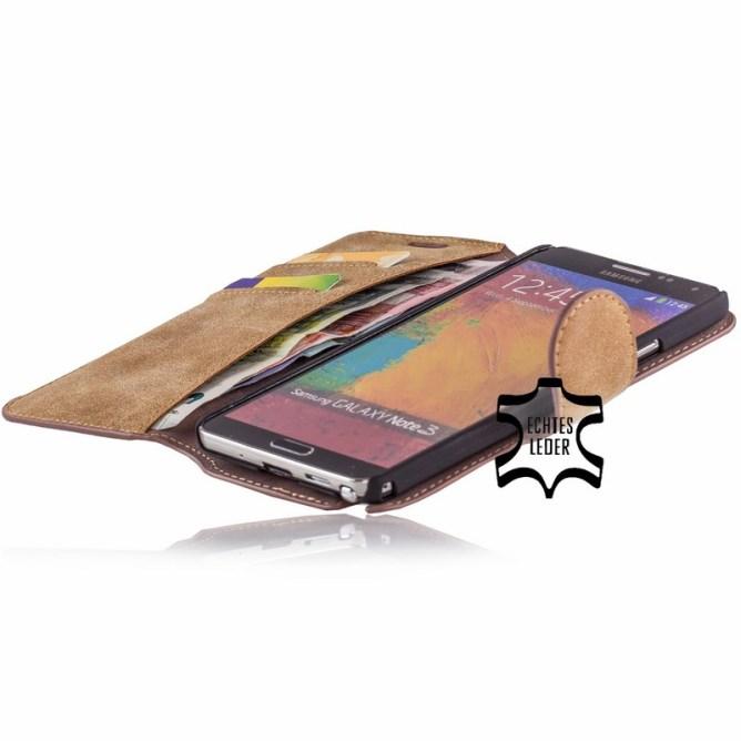 Golden Phoenix Samsung Galaxy Note 3 Handyhuelle Klassik Wallet-Case Wildleder hellbraun geoeffnet