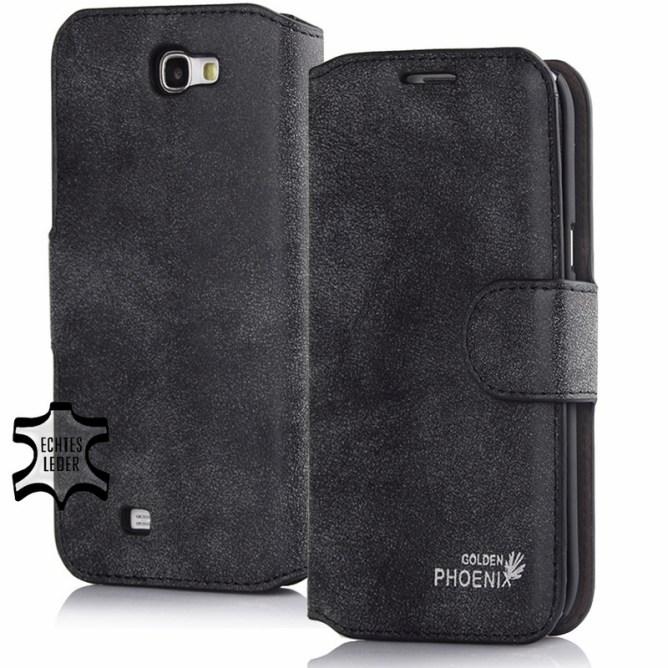 Golden Phoenix Samsung Galaxy Note 3 Handyhuelle Klassik Wallet-Case Wildleder schwarz