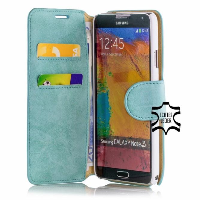 Golden Phoenix Samsung Galaxy Note 3 Handyhuelle Klassik Wallet-Case Wildleder tuerkis