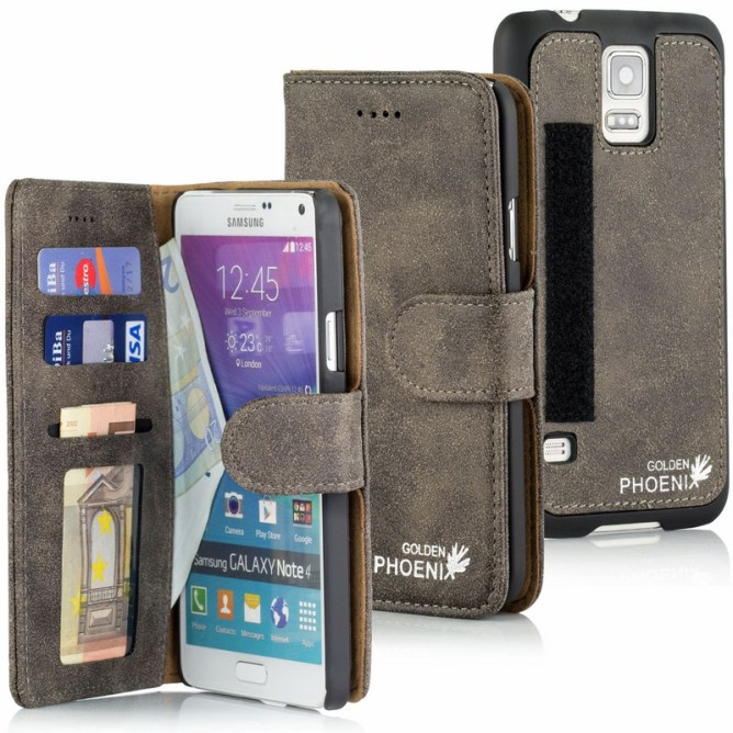 Golden Phoenix Samsung Galaxy Note 4 Handyhuelle Royal Wallet-Case Wildleder grau