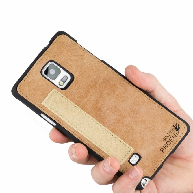Golden Phoenix Samsung Galaxy Note 4 Handyhuelle Royal Wallet-Case Wildleder hellbraun Backcover