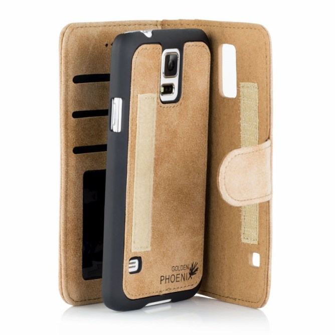 Golden Phoenix Samsung Galaxy Note 4 Handyhuelle Royal Wallet-Case Wildleder hellbraun abnehmbares Backcover