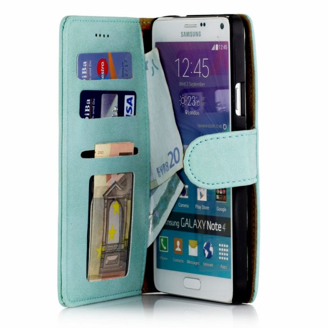 Golden Phoenix Samsung Galaxy Note 4 Handyhuelle Royal Wallet-Case Wildleder tuerkis