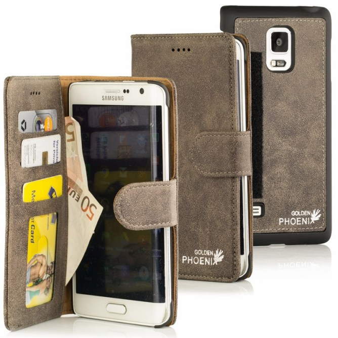 Golden Phoenix Samsung Galaxy Note Edge Handyhuelle Royal Wallet-Case Wildleder grau