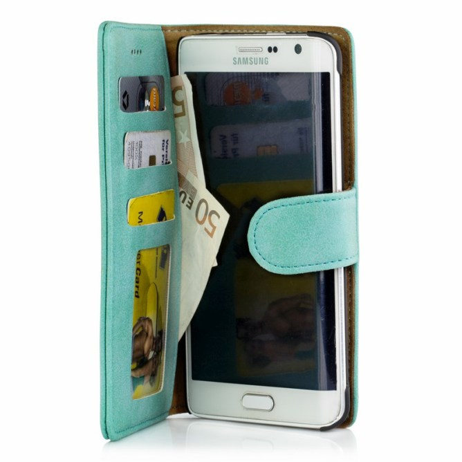 Golden Phoenix Samsung Galaxy Note Edge Handyhuelle Royal Wallet-Case Wildleder tuerkis