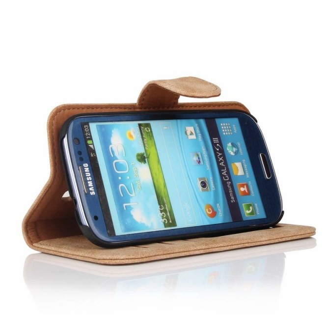 Golden Phoenix Samsung Galaxy S3 Handyhuelle Royal Wallet-Case Wildleder hellbraun Aufstellfunktion