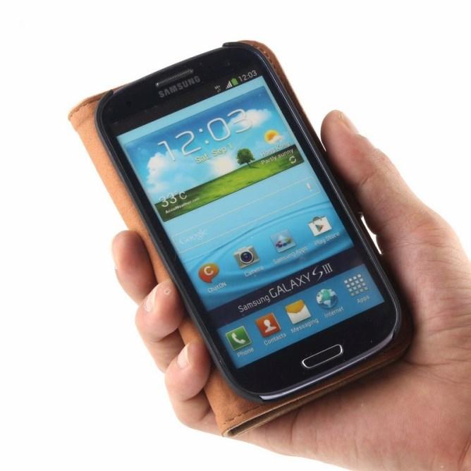 Golden Phoenix Samsung Galaxy S3 Handyhuelle Royal Wallet-Case Wildleder hellbraun aufgeklappt