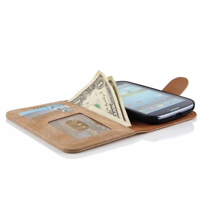 Golden Phoenix Samsung Galaxy S3 Handyhuelle Royal Wallet-Case Wildleder hellbraun geoeffnet