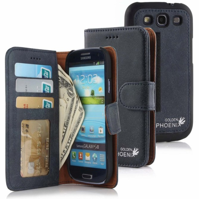 Golden Phoenix Samsung Galaxy S3 Handyhuelle Royal Wallet-Case Wildleder schwarz