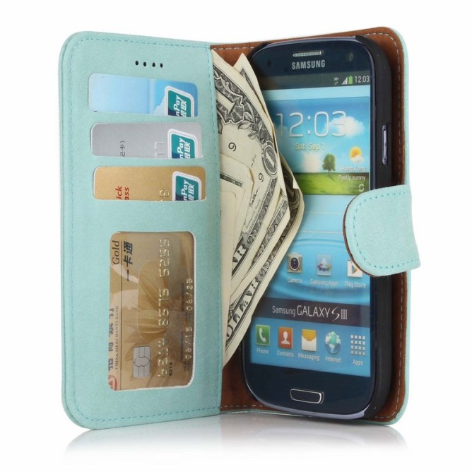 Golden Phoenix Samsung Galaxy S3 Handyhuelle Royal Wallet-Case Wildleder tuerkis