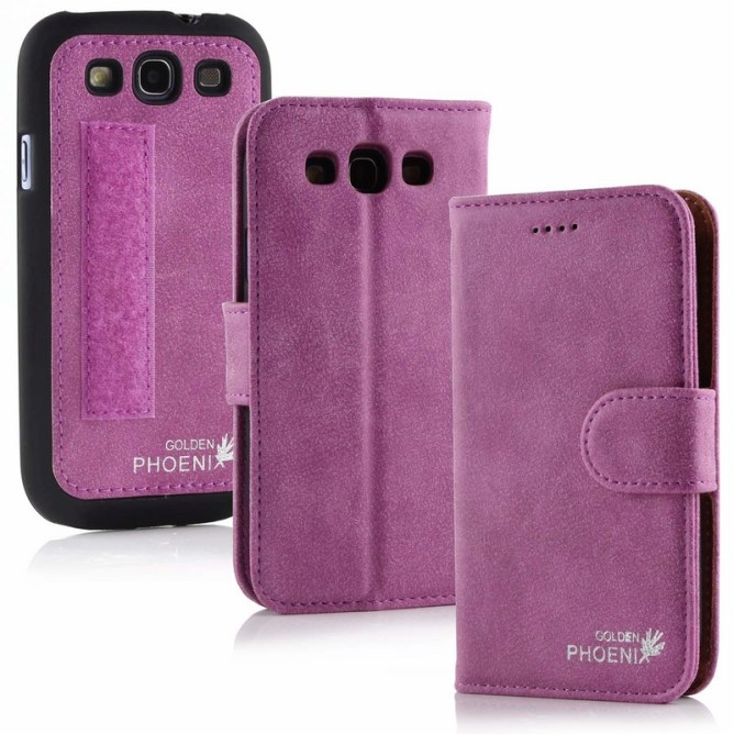Golden Phoenix Samsung Galaxy S3 Handyhuelle Royal Wallet-Case Wildleder violett