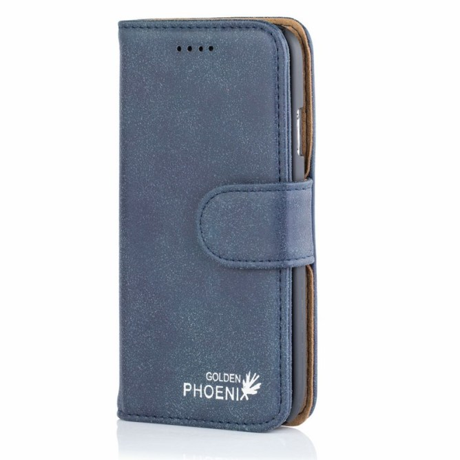 Golden Phoenix Samsung Galaxy S4 Handyhuelle Royal Wallet-Case Wildleder blau