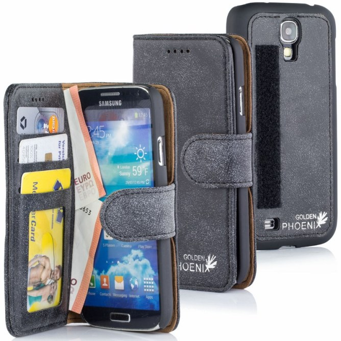 Golden Phoenix Samsung Galaxy S4 Handyhuelle Royal Wallet-Case Wildleder dunkelgrau