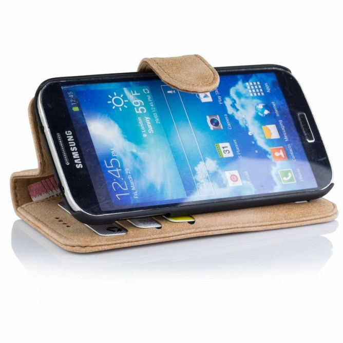 Golden Phoenix Samsung Galaxy S4 Handyhuelle Royal Wallet-Case Wildleder hellbraun Aufstellfunktion