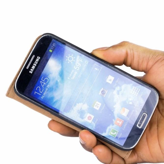 Golden Phoenix Samsung Galaxy S4 Handyhuelle Royal Wallet-Case Wildleder hellbraun aufgeklappt