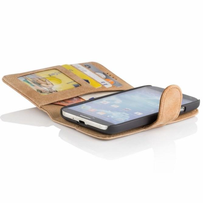 Golden Phoenix Samsung Galaxy S4 Handyhuelle Royal Wallet-Case Wildleder hellbraun geoeffnet