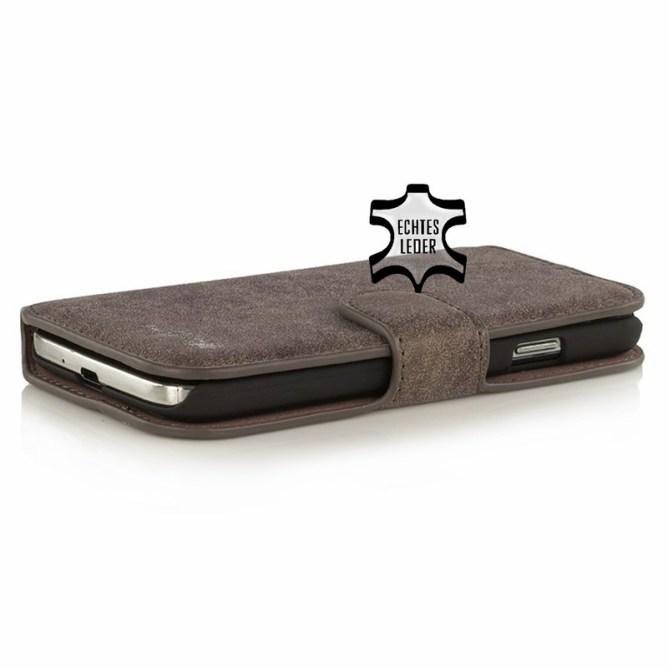 Golden Phoenix Samsung Galaxy S4 Handyhuelle Klassik Wallet-Case Wildleder braun