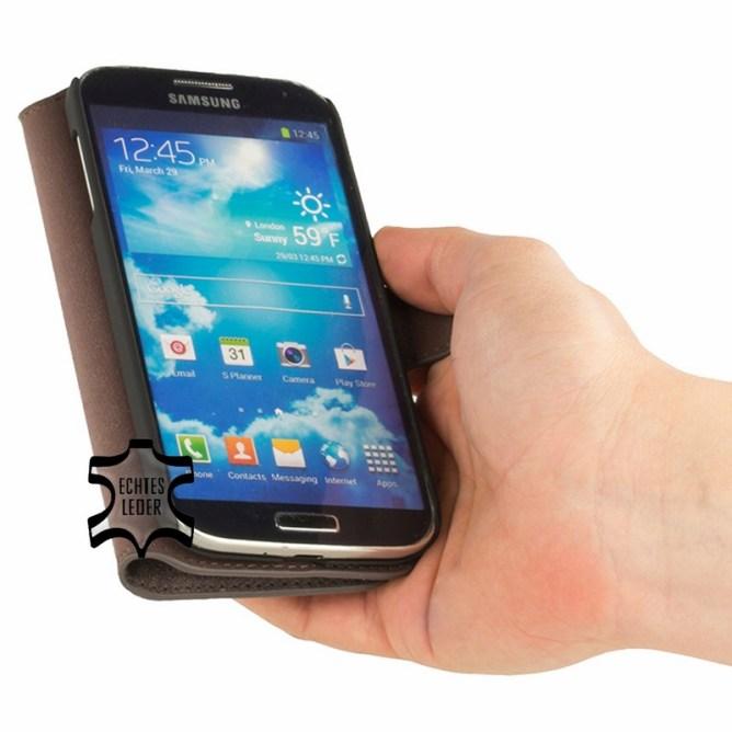 Golden Phoenix Samsung Galaxy S4 Handyhuelle Klassik Wallet-Case Wildleder braun aufgeklappt