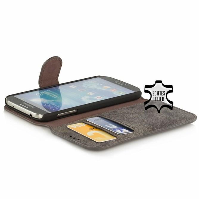 Golden Phoenix Samsung Galaxy S4 Handyhuelle Klassik Wallet-Case Wildleder grau geoeffnet