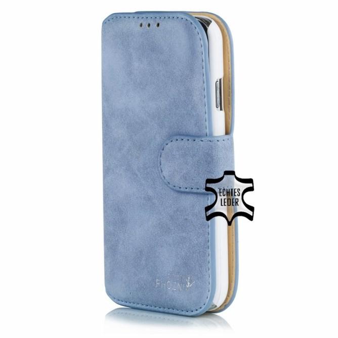 Golden Phoenix Samsung Galaxy S4 Handyhuelle Klassik Wallet-Case Wildleder hellblau
