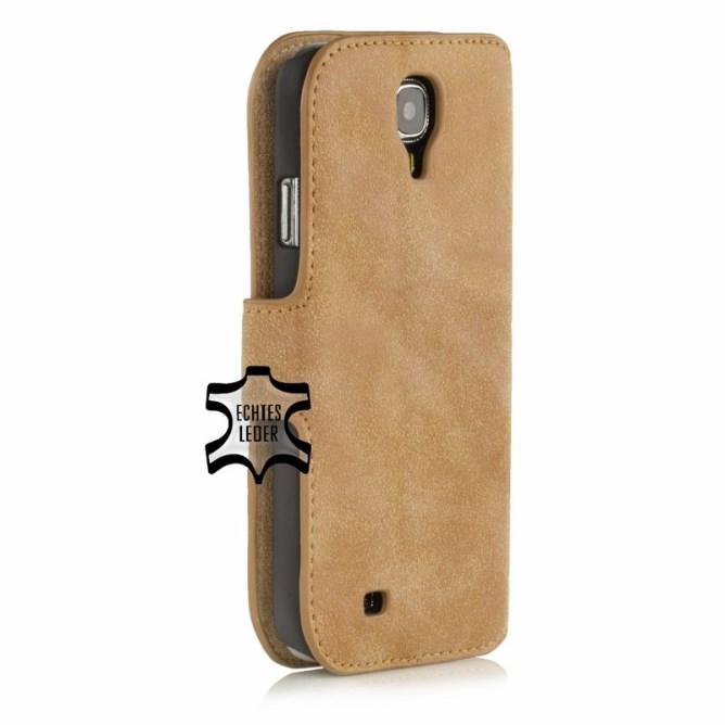 Golden Phoenix Samsung Galaxy S4 Handyhuelle Klassik Wallet-Case Wildleder hellbraun
