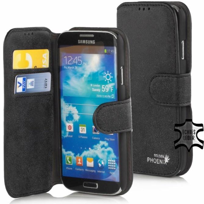 Golden Phoenix Samsung Galaxy S4 Handyhuelle Klassik Wallet-Case Wildleder schwarz