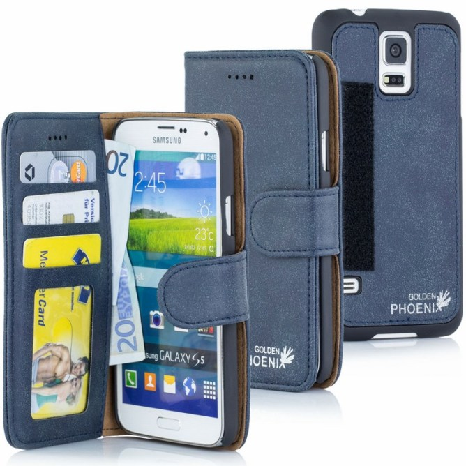Golden Phoenix Samsung Galaxy S5 Handyhuelle Royal Wallet-Case Wildleder blau