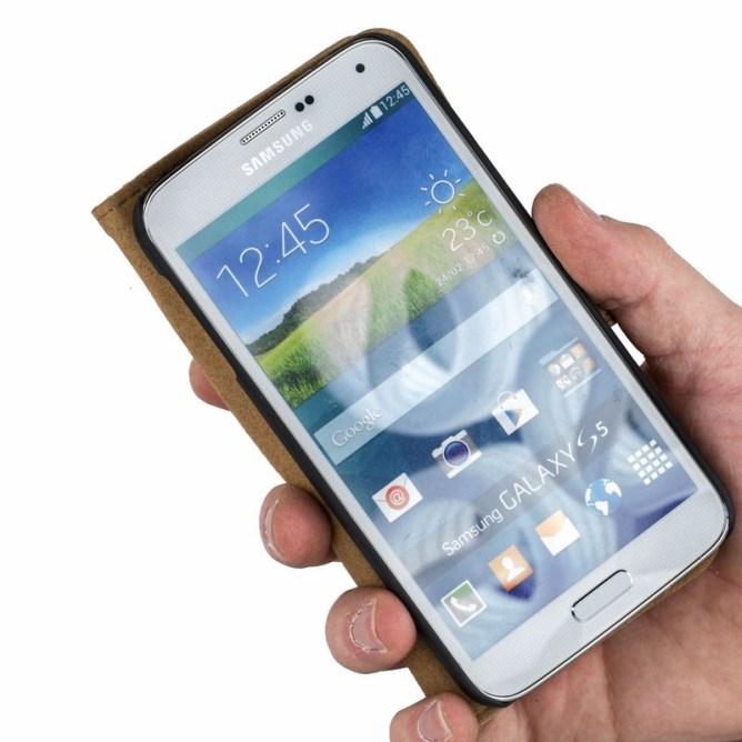 Golden Phoenix Samsung Galaxy S5 Handyhuelle Royal Wallet-Case Wildleder braun aufgeklappt