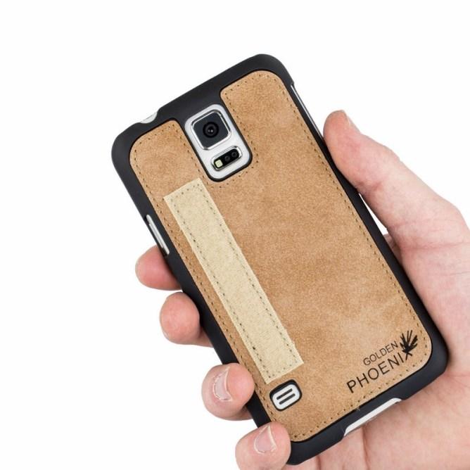 Golden Phoenix Samsung Galaxy S5 Handyhuelle Royal Wallet-Case Wildleder hellbraun Backcover
