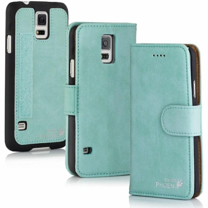Golden Phoenix Samsung Galaxy S5 Handyhuelle Klassik Wallet-Case Wildleder tuerkis