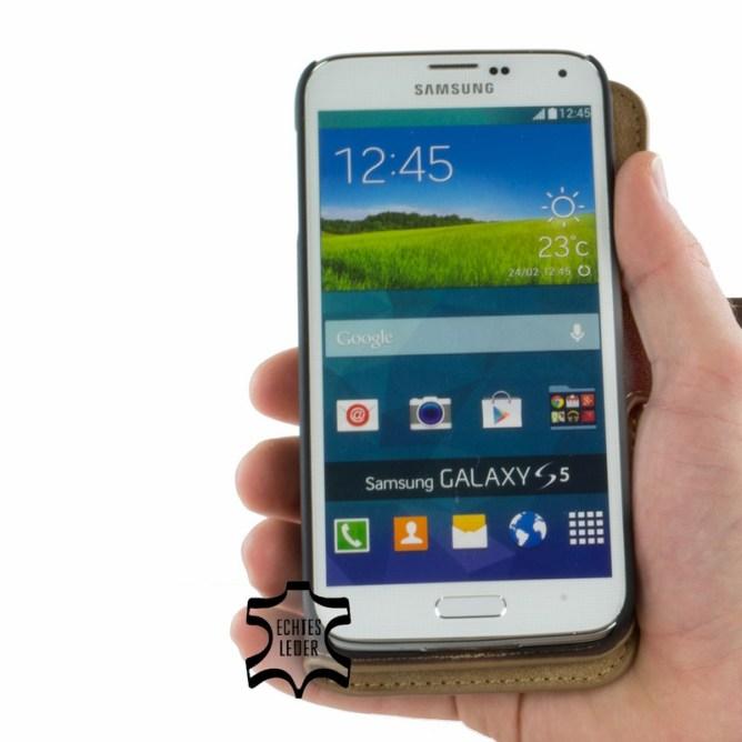 Golden Phoenix Samsung Galaxy S5Handyhuelle Klassik Wallet-Case Wildleder braun aufgeklappt