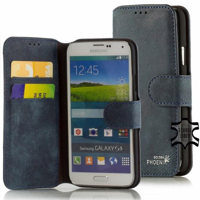 Golden Phoenix Samsung Galaxy S5 Handyhuelle Klassik Wallet-Case Wildleder dunkelblau