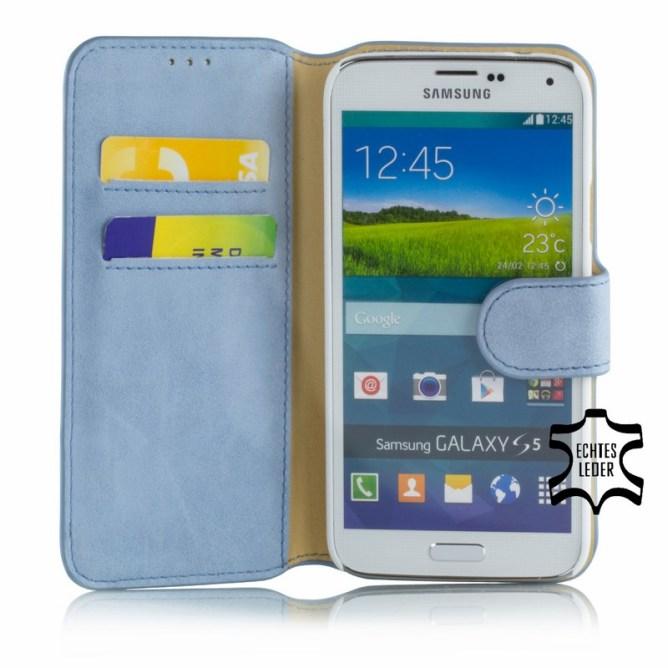 Golden Phoenix Samsung Galaxy S5 Handyhuelle Klassik Wallet-Case Wildleder hellblau