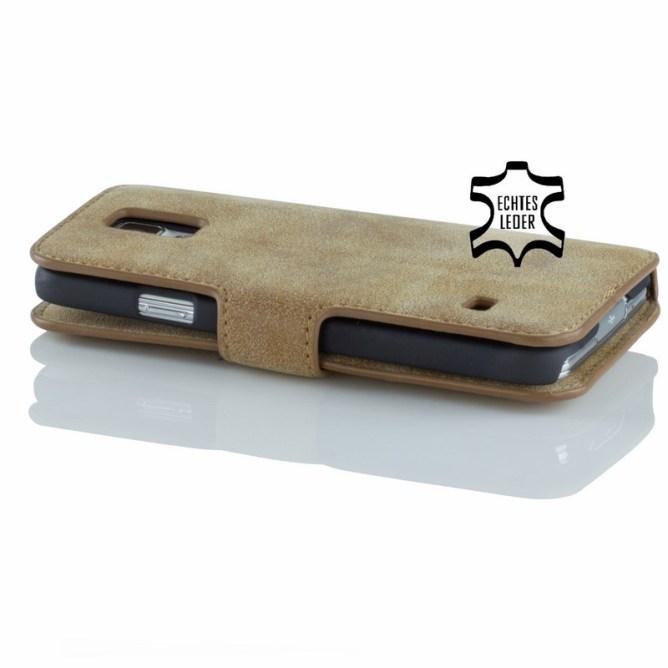 Golden Phoenix Samsung Galaxy S5 Handyhuelle Klassik Wallet-Case Wildleder hellbraun back