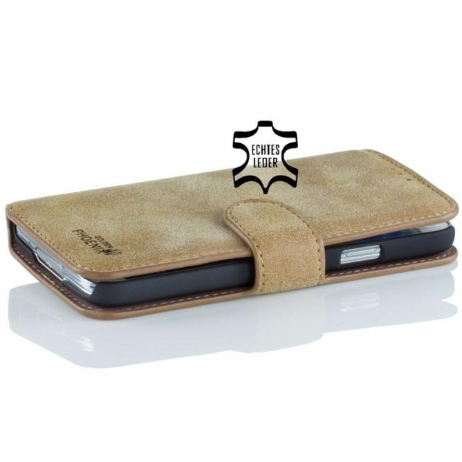 Golden Phoenix Samsung Galaxy S5 Handyhuelle Klassik Wallet-Case Wildleder hellbraun front