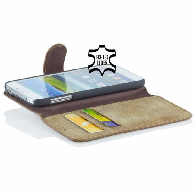 Golden Phoenix Samsung Galaxy S5 Handyhuelle Klassik Wallet-Case Wildleder hellbraun geoeffnet