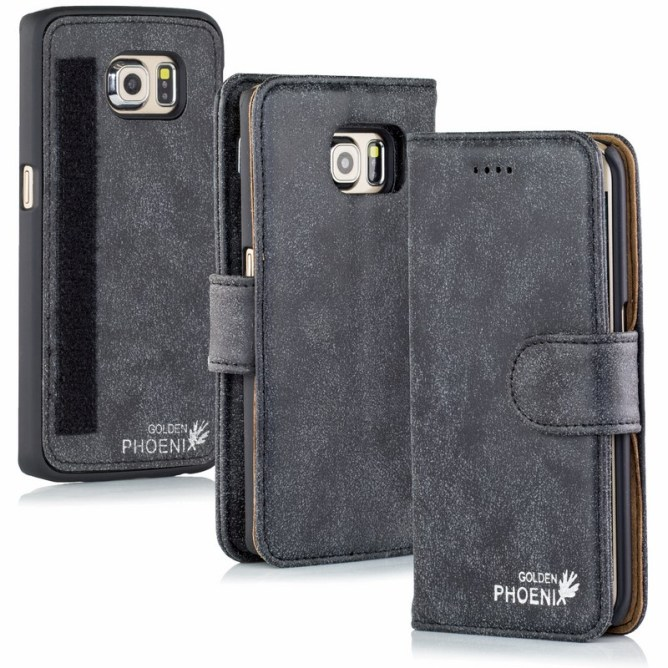 Golden Phoenix Samsung Galaxy S6 Edge Handyhuelle Royal Wallet-Case Wildleder anthrazit