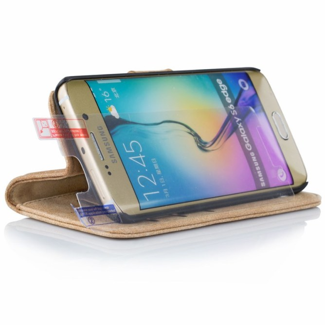 Golden Phoenix Samsung Galaxy S6 Edge Handyhuelle Royal Wallet-Case Wildleder hellbraun Aufstellfunktion