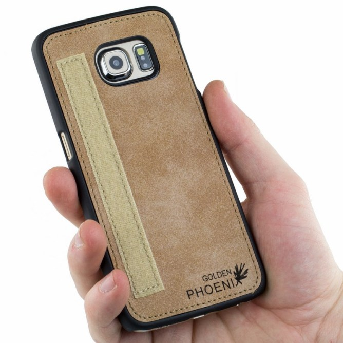 Golden Phoenix Samsung Galaxy S6 Edge Handyhuelle Royal Wallet-Case Wildleder hellbraun Backcover