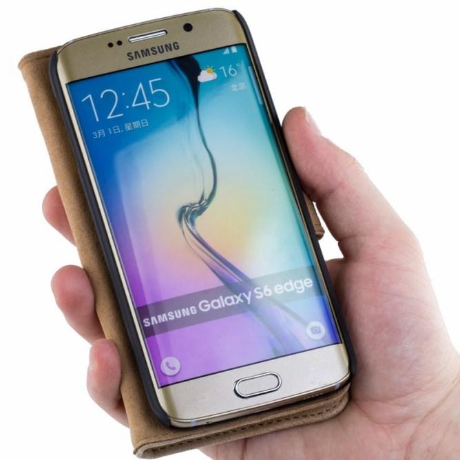 Golden Phoenix Samsung Galaxy S6 Edge Handyhuelle Royal Wallet-Case Wildleder hellbraun aufgeklappt