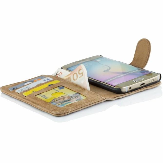 Golden Phoenix Samsung Galaxy S6 Edge Handyhuelle Royal Wallet-Case Wildleder hellbraun geoeffnet