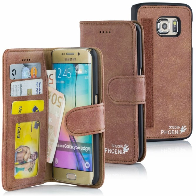 Golden Phoenix Samsung Galaxy S6 Edge Handyhuelle Royal Wallet-Case Wildleder mahagoni